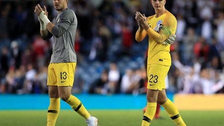 Nick Pope (right) applauds the fans along with fellow goalkeeper Jack Butland after England's friend