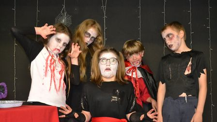 Little Downham's Youth Acts UP in rehearsal for the Dracula Rock Show. PHOTO: Carol Hebbard.