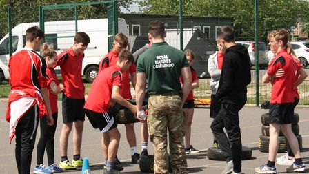 Royal Marines dropped in for a recruitment drive at Witchford Village College