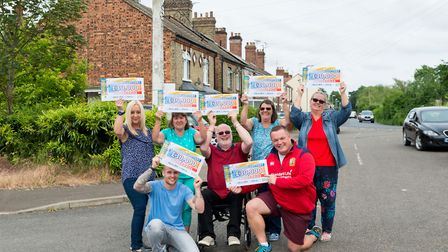 Eight Norwood Road residents each won 30,000 in the People's Postcode Lottery - Left to right: Helen