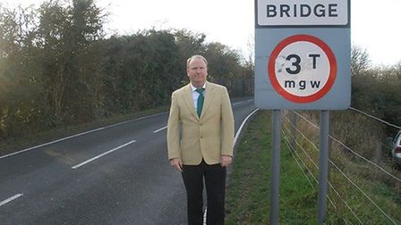 Cambs County Council leader Cllr Steve Count on Norwood Road bridge, March