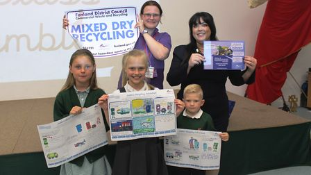Overall Getting It Sorted competition winner Justina Dambraskaite, 9 (front, centre) is pictured wit