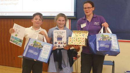Winner of the best independent recycling storyboard Madeleine Pooley, 10, and runner-up Joshua Susti