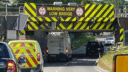 In the second incident at Ely railway bridge yesterday, the ladders on top of another van started sc