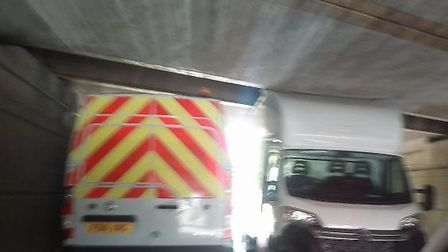 Later in the afternoon a white Luton van got stuck under the Ely railway bridge.