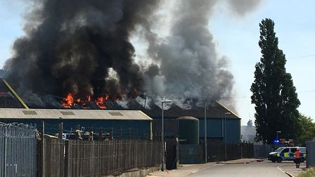 Dramatic photos of the fire in Wisbech today at an industrial complex. PHOTO: Sophie Sayers