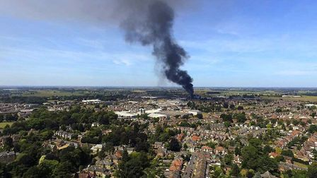 Drone photo of the major fire in Wisbech today IMAGE: Christopher Burgess