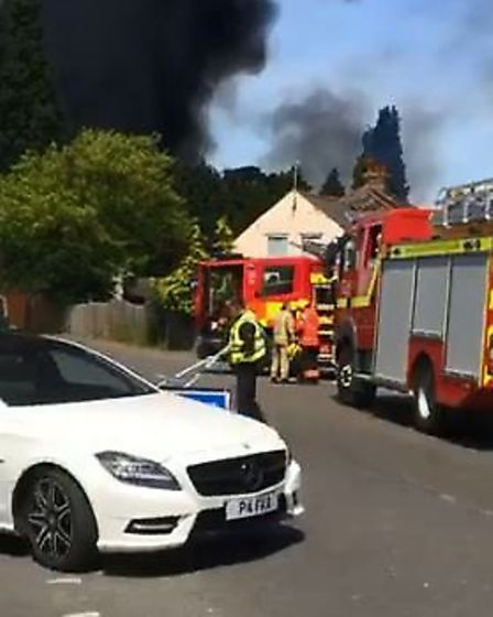 Fire crews are tackling a blaze in Osborne Road, Wisbech, The fire is thought to have broken out in