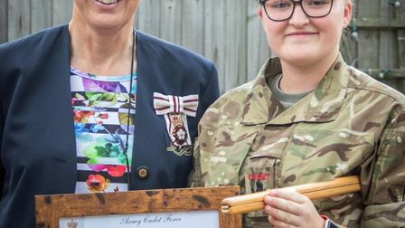 Lord Lieutenant of Cambridgeshire Julile Spence with cadet Emily Whyte