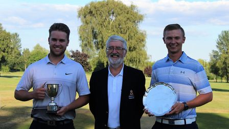 Men's captain Greg (centre) presenting Isaac (left) and Ryan (right) their trophies - More than 60 m