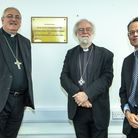 Former archbishop of Canterbury Rowan Williams, the bishop of Ely Rt Rev Stephen Conway and DEMAT ch