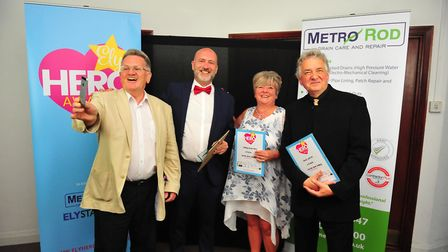 Smiliest Server winner Javier Serrano-Gomez (pictured second from left) at the Ely Hero Awards 2018