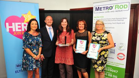 Colleague of the Year Award winner Donna Garner (centre) at the Ely Hero Awards 2018 held at The Mal