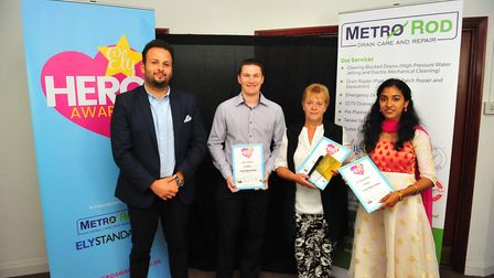 Caring Companion Award winner Lisa Thompson (second from right) at the Ely Hero Awards 2018 held at