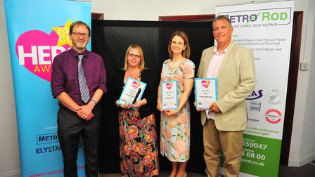 Community Champion Award winner Joanne Coe (second from left) at the Ely Hero Awards 2018 held at Th