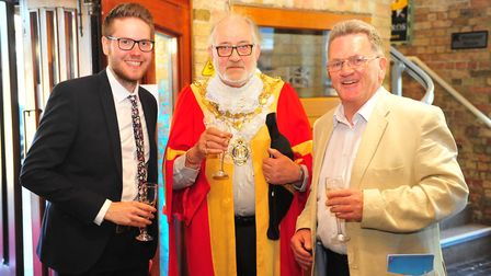 Left to right: Luke Smith, Mayor of Ely Mike Rouse and John Elworthy at the Ely Hero Awards 2018 hel