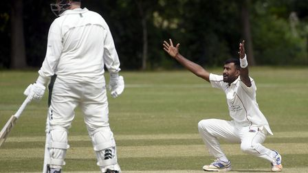 Saranga Rajagaru appeals for a wicket during March's victory against Sawston & Babraham. Picture: IA