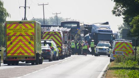 Bus collides with lorry on the A47,A47, Peterborough26/06/2018. Picture by Terry Harris.