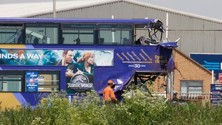 Bus collides with lorry on the A47. Picture by Terry Harris.