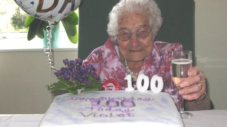 Violet Butcher of Ely (pictured) has celebrated her 100th birthday surrounded by family and friends.