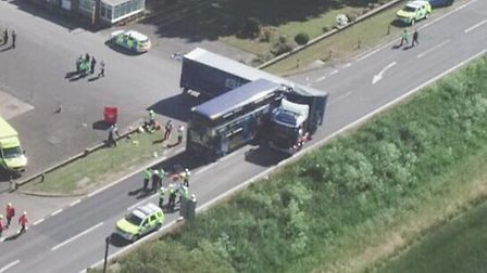 Bus collides with Lorry on the A47 26/06/2018. Picture by Terry Harris.
