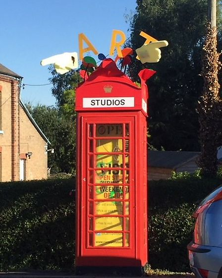 Prickwillow telephone box is decorated for summer 2018.