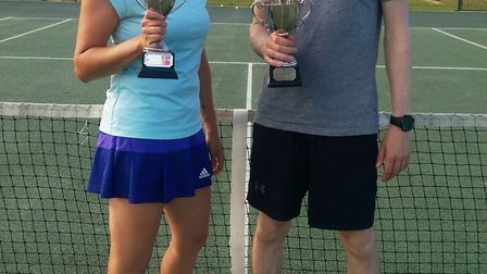 Miriam Penegar (left) and Lee Enstone (right) of Chatteris Tennis Club. Picture: Submitted