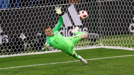 England goalkeeper Jordan Pickford saves a penalty from Colombia's Carlos Bacca during the FIFA Worl