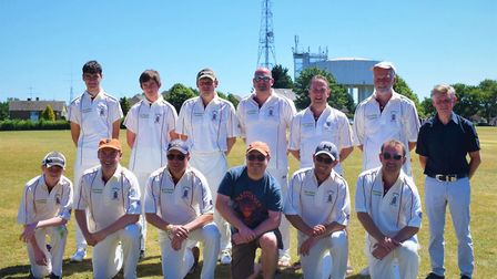 Haddenham Cricket Club in their new shirts with Toby Bush, managing director of The Dog House Soluti