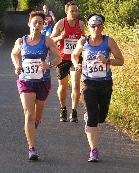 GFDR's Henrietta Butcher (357) and Hayley Morley (360) at two miles at the Friday Night 5 event
