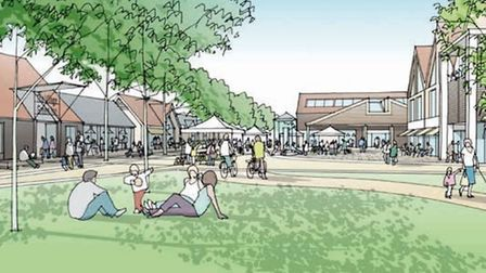 Artist's impression of new Village Square, viewed from Village Green. PHOTO: Palace Green Homes