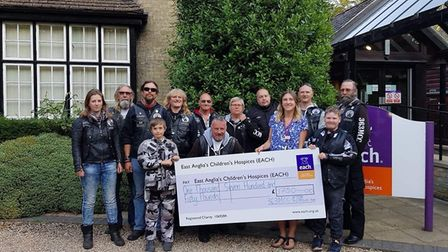 Cheque presentation at East Anglia's Children's Hospice – Littleport-based 363 MCC Motorcycle Club h