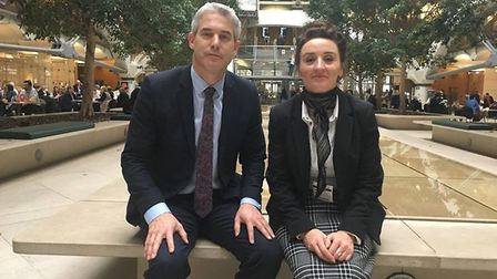 Steve Barclay MP with Cambs Time reporter Kath Sansom