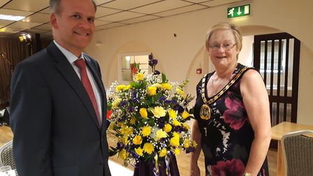 Fenland District Council chairman, Cllr Kay Mayor, with Christian Wagner, the Bergermeister of Stadt