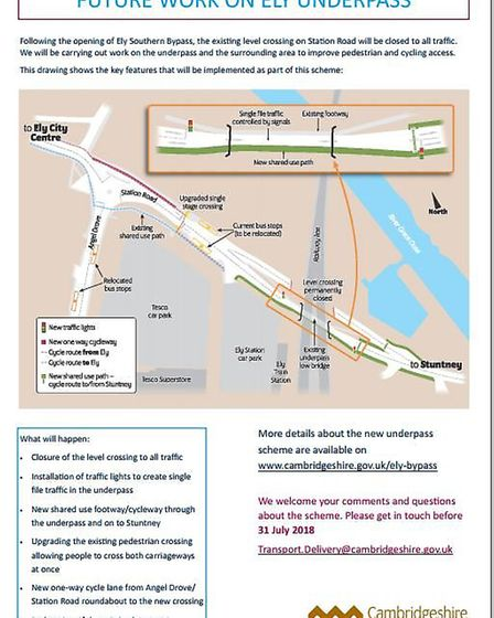 A diagram showing future work on Ely underpass PHTO: Cambs County Council