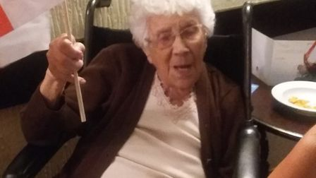 Freda, 98, spotted in a Cambridgeshire pub cheering on England. Picture: The Three Horseshoes Pub an
