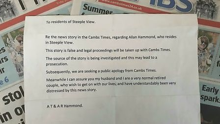 Retired company director Allan Hammond, of March, accused the Cambs Times of making up the story and