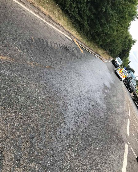 The A141 towards March is still closed after a farm vehicle over turned on the Guyhirn roundabout ea