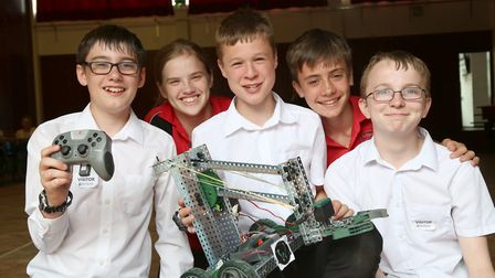 The winners, team Witchcraft - Ely College was host to a Withford-based companys robotics event. Pic
