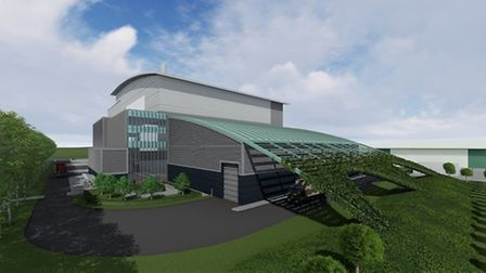 An artist impression of the proposed waste incinerator facility in Waterbeach.