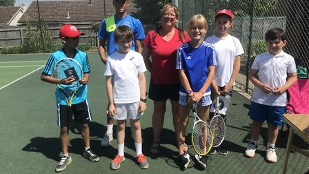 Lisa Kennedy with some of the Chatteris Tennis Club juniors.