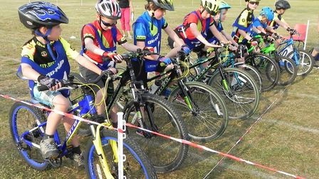 Some of the junior riders taking part in the EDCC Go-Ride race lining up for the start. PHOTO: EDCC.