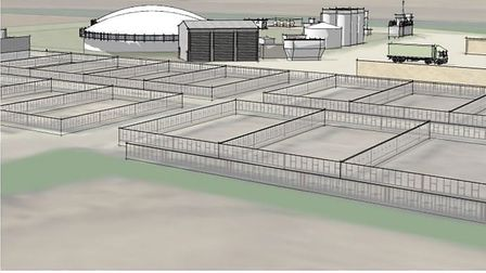 Three--dimensional model of the proposals for anaerobic digester plant for West End Farm, Whittlesey