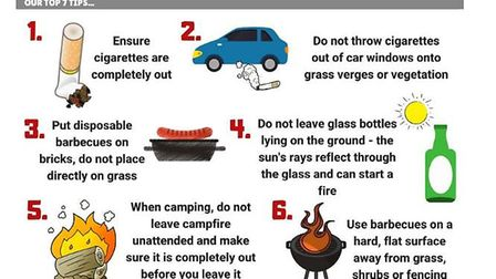 Cambs Fire and Rescue give safety advice on how to prevent fires in the hote weather. PHOTO: Cambs F