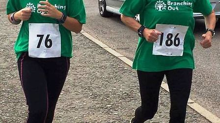 Amy Williams and Cathy Gibb-de Swarte running the Littleport 10k for Branching Out in 2017. PHOTO: L