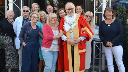 Tracey Summers with friends, members of the Viva Soham family and Mayor of Ely Councillor Mike Rouse