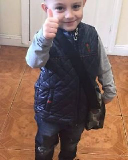 Five-year-old Bill Grant, of Manea, cycled three-and-a-half miles to raise money for a girl who need