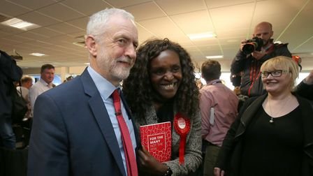 Labour leader Jeremy Corbyn with Fiona Onasanya during an election campaign visit to Peterborough Un