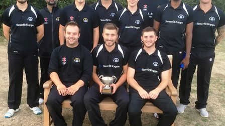 March Town Cricket Club after winning the Kirkland Cup. Left to right (back row) Callum Young, Shard