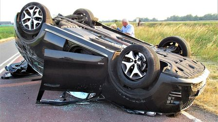 """""""This is a picture of the car which was t-boned at Boots Bridge on Thursday evening."""" Photo: Sarah M"""